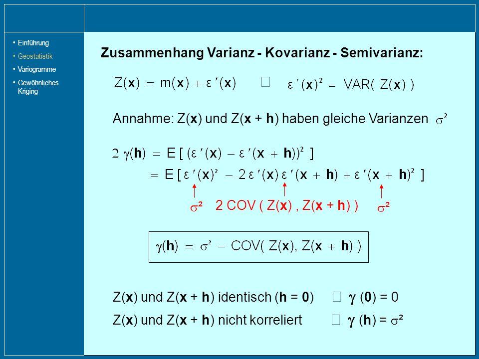 Z(x) und Z(x + h) identisch (h = 0) (0) = 0 Zusammenhang Varianz - Kovarianz - Semivarianz: ² ² 2 COV ( Z(x), Z(x + h) ) Z(x) und Z(x + h) nicht korre