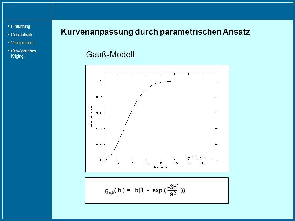 Kurvenanpassung durch parametrischen Ansatz Sphärisches Modell exponentielles Modell Gauß-Modell Einführung Geostatistik Variogramme Gewöhnliches Krig