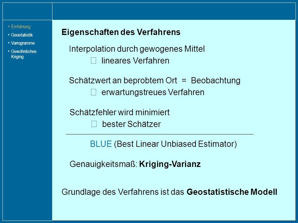 Eigenschaften des Verfahrens Interpolation durch gewogenes Mittel lineares Verfahren Genauigkeitsmaß: Kriging-Varianz Schätzfehler wird minimiert best