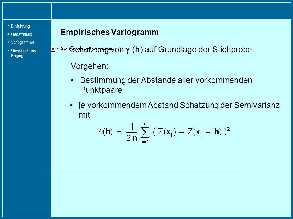 Empirisches Variogramm Schätzung von (h) auf Grundlage der Stichprobe je vorkommendem Abstand Schätzung der Semivarianz mit Vorgehen: Bestimmung der A