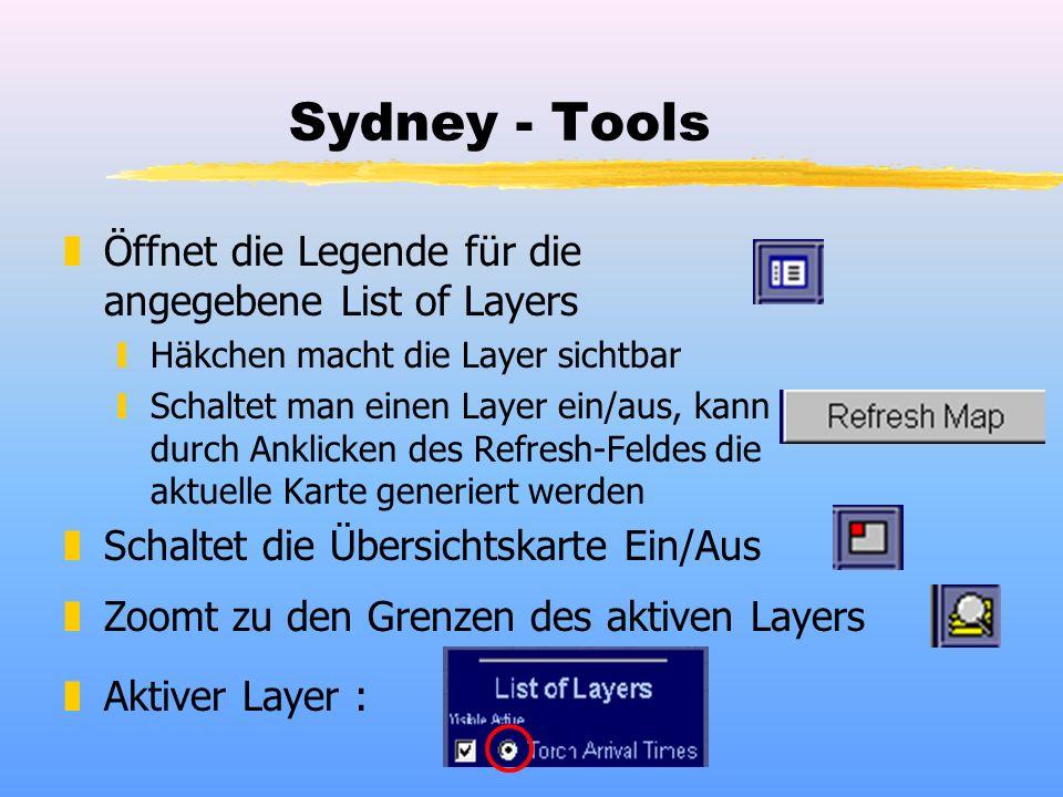 Sydney - Tools zÖffnet die Legende für die angegebene List of Layers yHäkchen macht die Layer sichtbar ySchaltet man einen Layer ein/aus, kann durch Anklicken des Refresh-Feldes die aktuelle Karte generiert werden zSchaltet die Übersichtskarte Ein/Aus zZoomt zu den Grenzen des aktiven Layers zAktiver Layer :