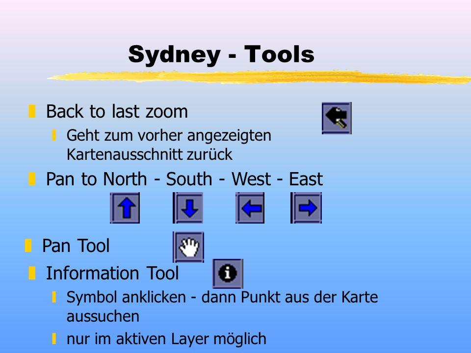 Sydney - Tools zBack to last zoom yGeht zum vorher angezeigten Kartenausschnitt zurück zPan to North - South - West - East zPan Tool zInformation Tool ySymbol anklicken - dann Punkt aus der Karte aussuchen ynur im aktiven Layer möglich