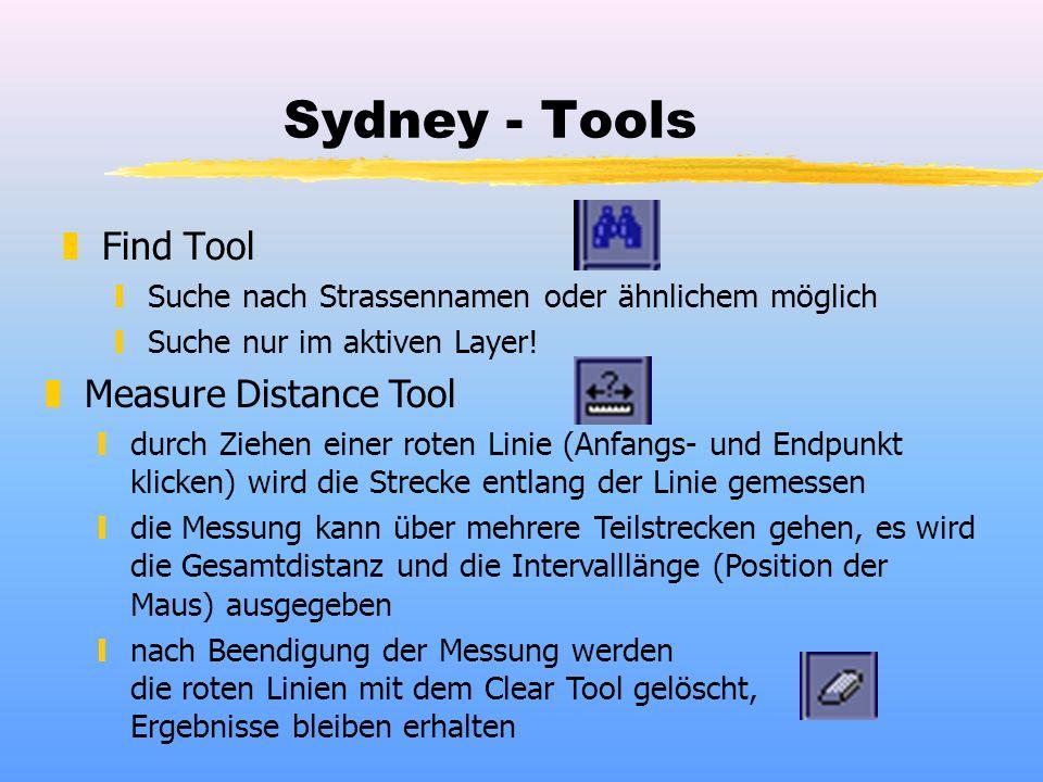 Sydney - Tools zFind Tool ySuche nach Strassennamen oder ähnlichem möglich ySuche nur im aktiven Layer! zMeasure Distance Tool ydurch Ziehen einer rot