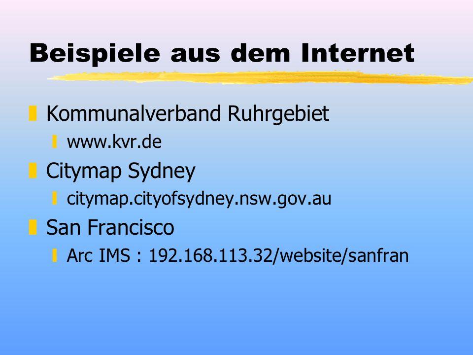 Beispiele aus dem Internet zKommunalverband Ruhrgebiet ywww.kvr.de zCitymap Sydney ycitymap.cityofsydney.nsw.gov.au zSan Francisco yArc IMS : 192.168.113.32/website/sanfran