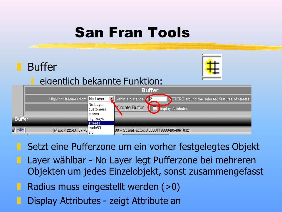 San Fran Tools zBuffer yeigentlich bekannte Funktion: zSetzt eine Pufferzone um ein vorher festgelegtes Objekt zLayer wählbar - No Layer legt Pufferzone bei mehreren Objekten um jedes Einzelobjekt, sonst zusammengefasst zRadius muss eingestellt werden (>0) zDisplay Attributes - zeigt Attribute an
