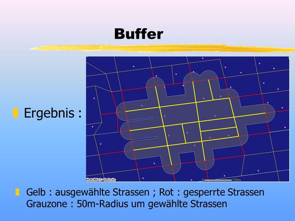 Buffer zErgebnis : zGelb : ausgewählte Strassen ; Rot : gesperrte Strassen Grauzone : 50m-Radius um gewählte Strassen