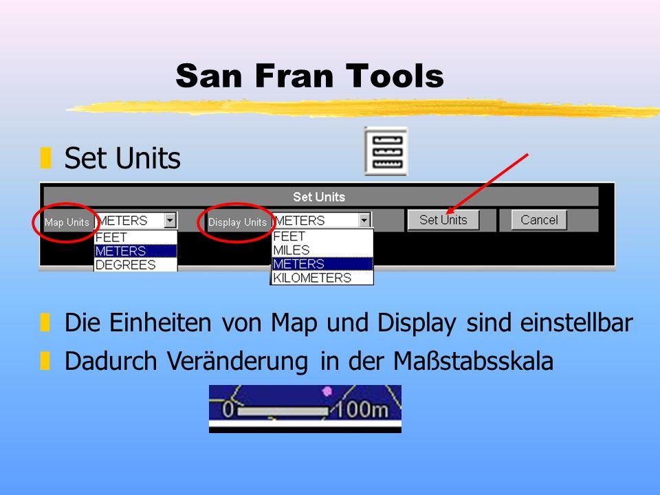 San Fran Tools zSet Units zDie Einheiten von Map und Display sind einstellbar zDadurch Veränderung in der Maßstabsskala