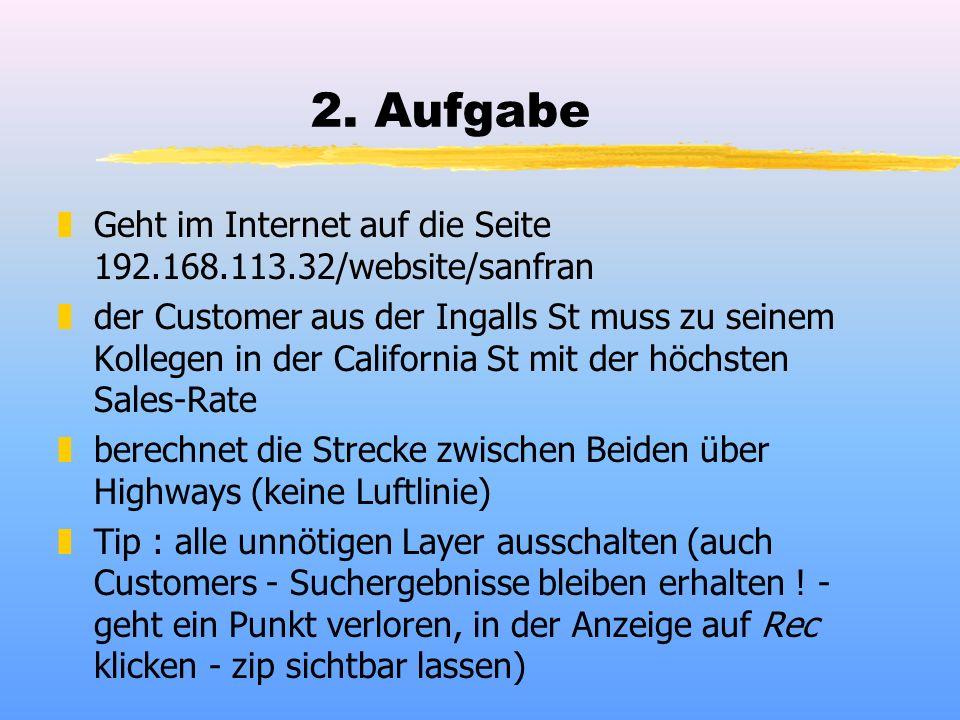 2. Aufgabe zGeht im Internet auf die Seite 192.168.113.32/website/sanfran zder Customer aus der Ingalls St muss zu seinem Kollegen in der California S