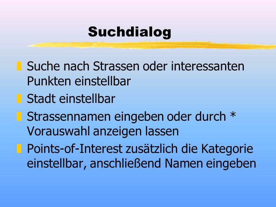 Suchdialog zSuche nach Strassen oder interessanten Punkten einstellbar zStadt einstellbar zStrassennamen eingeben oder durch * Vorauswahl anzeigen las