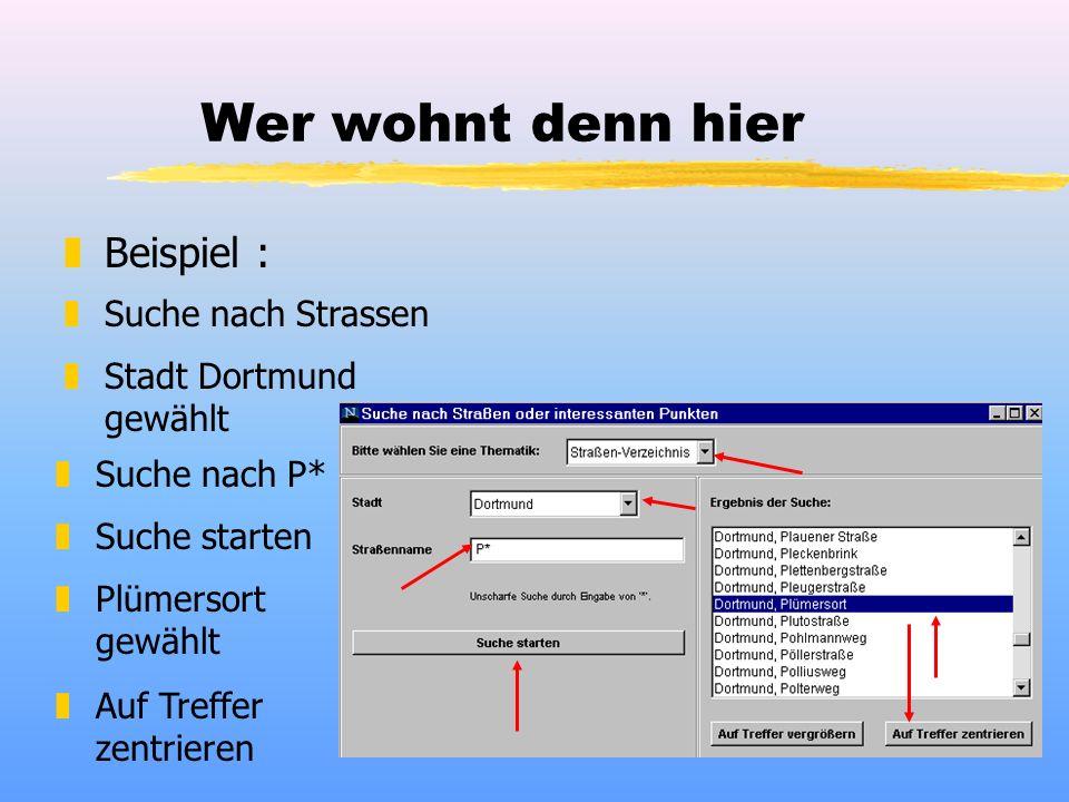 Wer wohnt denn hier zBeispiel : zSuche nach Strassen zStadt Dortmund gewählt zSuche nach P* zSuche starten zPlümersort gewählt zAuf Treffer zentrieren