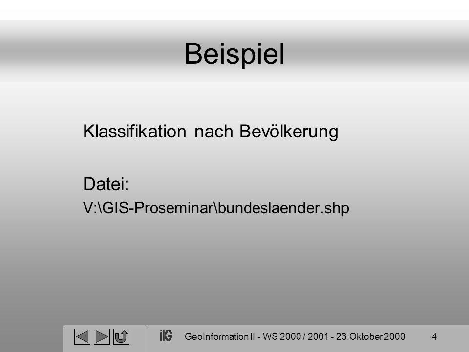 GeoInformation II - WS 2000 / 2001 - 23.Oktober 20004 Beispiel Klassifikation nach Bevölkerung Datei: V:\GIS-Proseminar\bundeslaender.shp