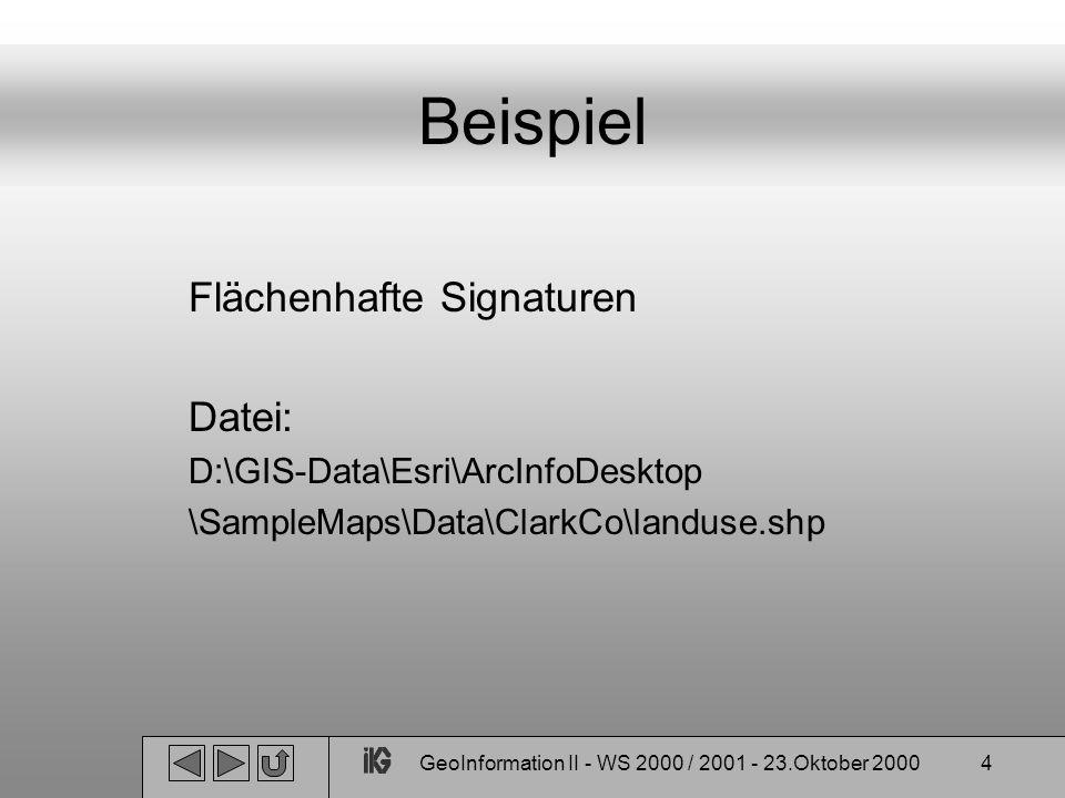 GeoInformation II - WS 2000 / 2001 - 23.Oktober 20004 Beispiel Flächenhafte Signaturen Datei: D:\GIS-Data\Esri\ArcInfoDesktop \SampleMaps\Data\ClarkCo