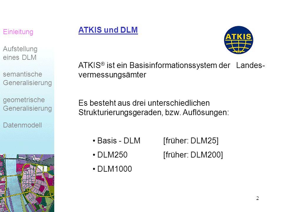 2 ATKIS ® ist ein Basisinformationssystem der Landes- vermessungsämter Es besteht aus drei unterschiedlichen Strukturierungsgeraden, bzw.