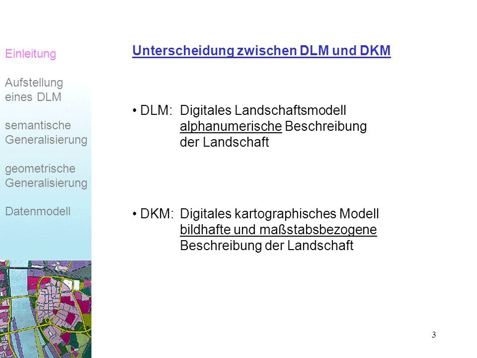 3 Unterscheidung zwischen DLM und DKM DLM:Digitales Landschaftsmodell alphanumerische Beschreibung der Landschaft DKM:Digitales kartographisches Modell bildhafte und maßstabsbezogene Beschreibung der Landschaft Einleitung Aufstellung eines DLM semantische Generalisierung geometrische Generalisierung Datenmodell
