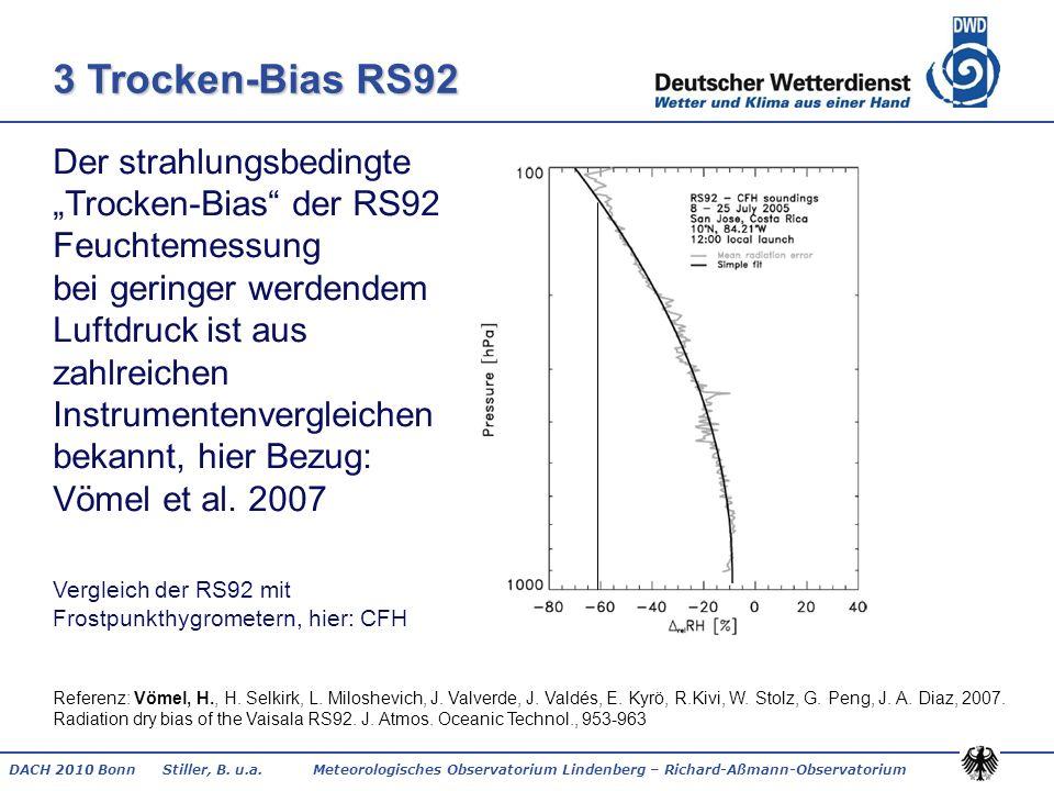 DACH 2010 Bonn Stiller, B. u.a. Meteorologisches Observatorium Lindenberg – Richard-Aßmann-Observatorium 3 Trocken-Bias RS92 Der strahlungsbedingte Tr
