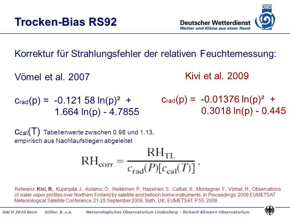 DACH 2010 Bonn Stiller, B. u.a. Meteorologisches Observatorium Lindenberg – Richard-Aßmann-Observatorium Korrektur für Strahlungsfehler der relativen