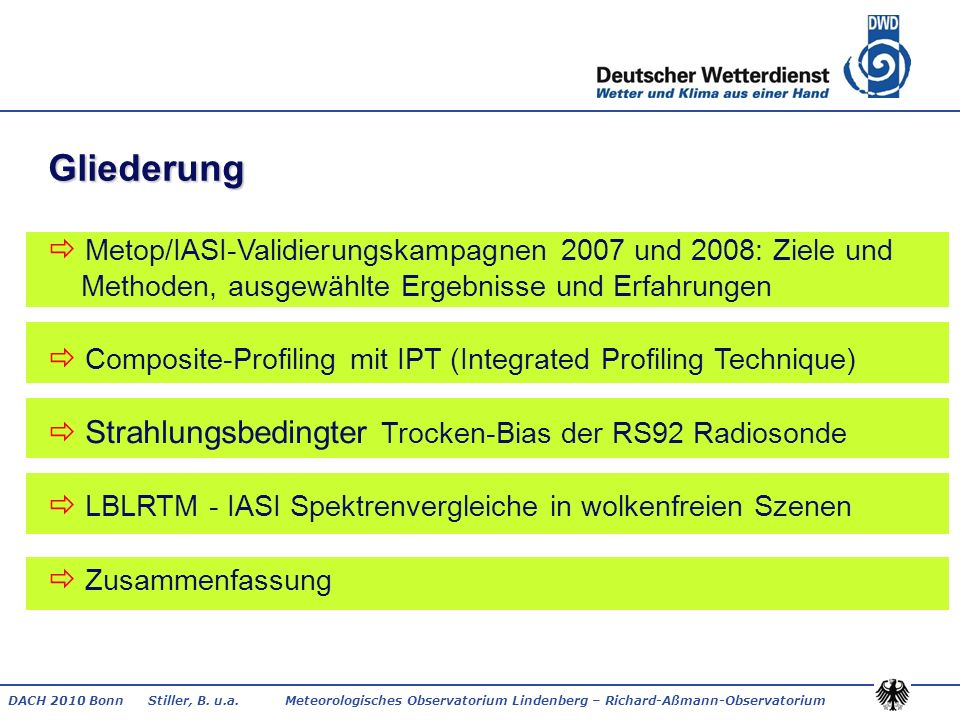 DACH 2010 Bonn Stiller, B. u.a. Meteorologisches Observatorium Lindenberg – Richard-Aßmann-Observatorium Gliederung Metop/IASI-Validierungskampagnen 2