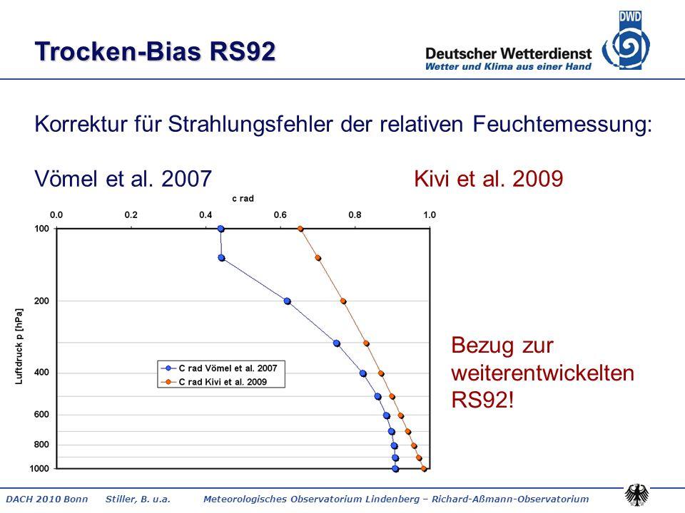 DACH 2010 Bonn Stiller, B. u.a. Meteorologisches Observatorium Lindenberg – Richard-Aßmann-Observatorium Trocken-Bias RS92 Korrektur für Strahlungsfeh