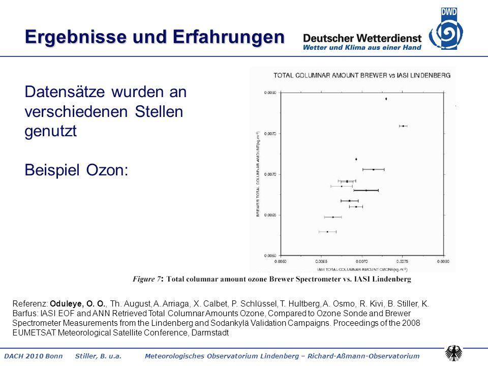 DACH 2010 Bonn Stiller, B. u.a. Meteorologisches Observatorium Lindenberg – Richard-Aßmann-Observatorium Ergebnisse und Erfahrungen Datensätze wurden