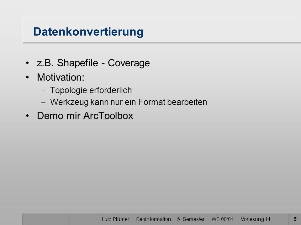 Lutz Plümer - Geoinformation - 5. Semester - WS 00/01 - Vorlesung 145 Datenkonvertierung z.B.