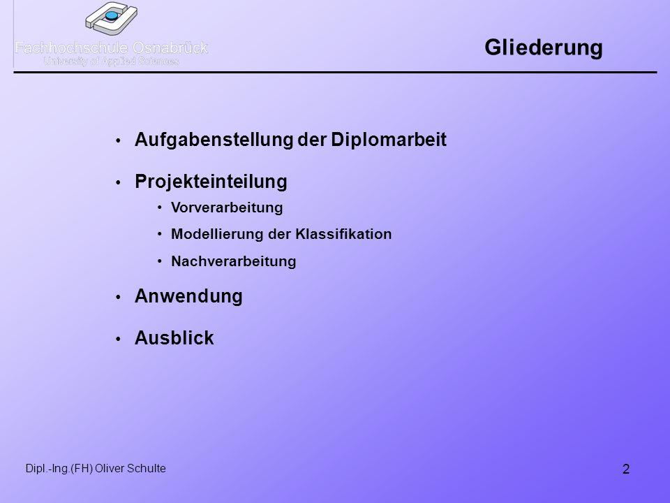 2 Gliederung Aufgabenstellung der Diplomarbeit Projekteinteilung Anwendung Ausblick Vorverarbeitung Modellierung der Klassifikation Nachverarbeitung
