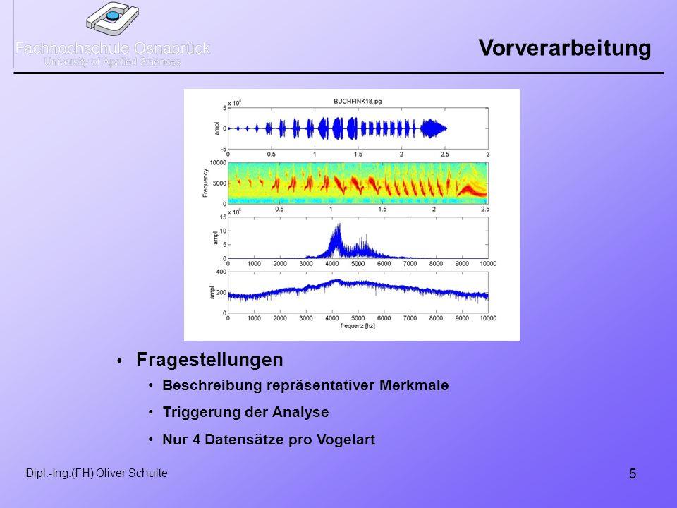 5 Dipl.-Ing.(FH) Oliver Schulte Vorverarbeitung Fragestellungen Beschreibung repräsentativer Merkmale Triggerung der Analyse Nur 4 Datensätze pro Vogelart