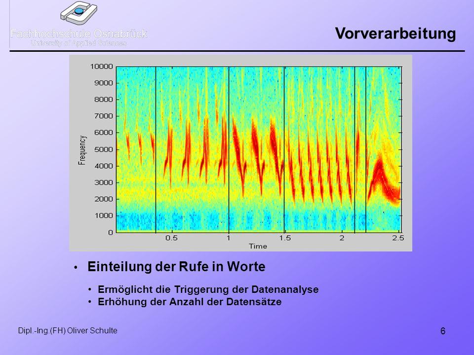 6 Dipl.-Ing.(FH) Oliver Schulte Vorverarbeitung Einteilung der Rufe in Worte Ermöglicht die Triggerung der Datenanalyse Erhöhung der Anzahl der Datensätze