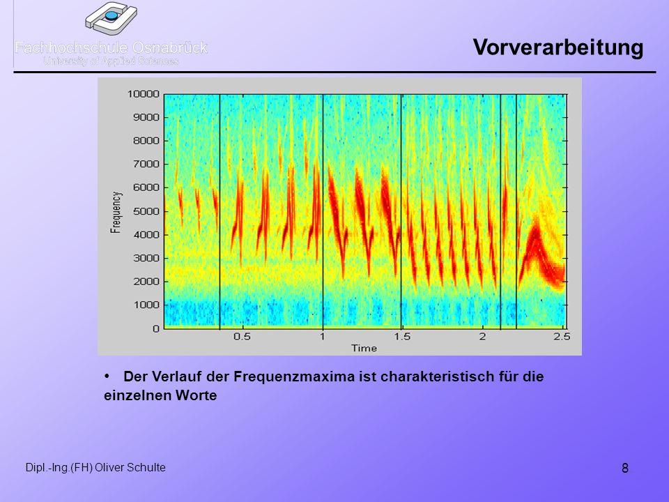 8 Dipl.-Ing.(FH) Oliver Schulte Vorverarbeitung Der Verlauf der Frequenzmaxima ist charakteristisch für die einzelnen Worte