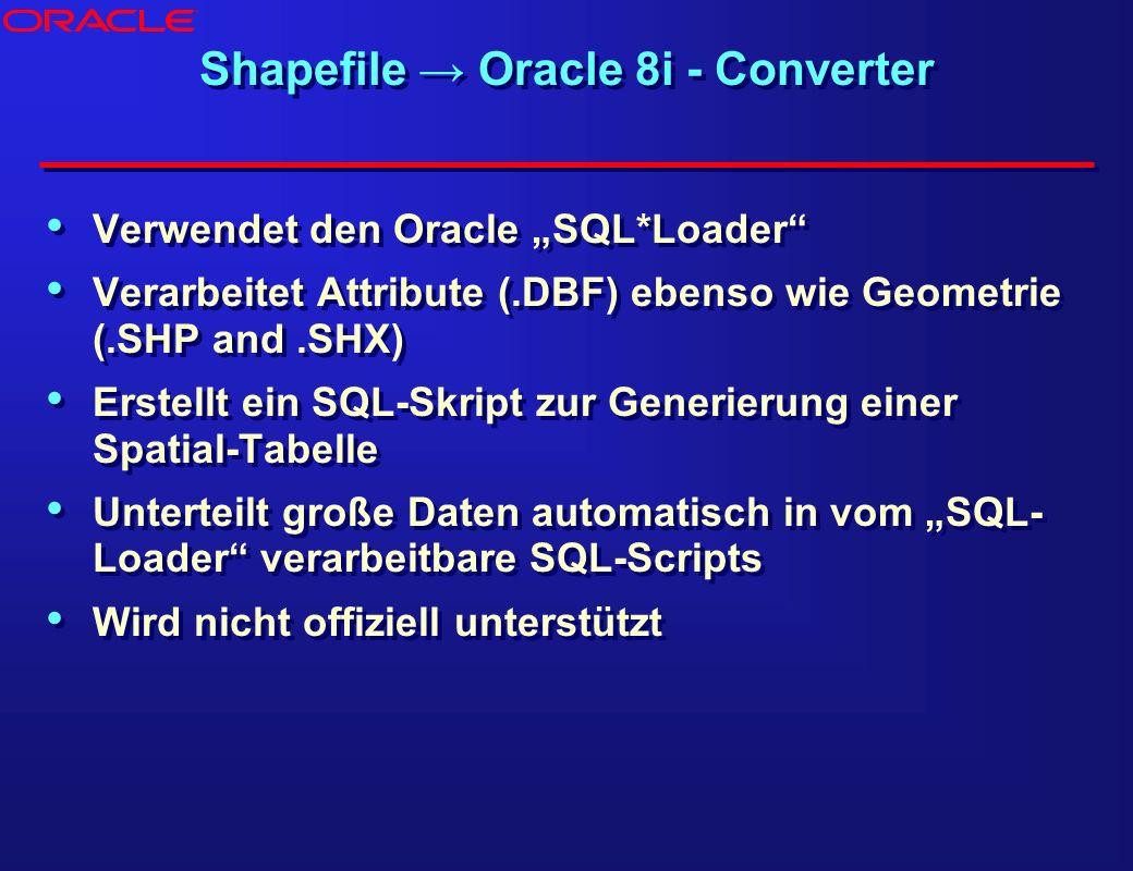 Shapefile Oracle 8i - Converter Verwendet den Oracle SQL*Loader Verarbeitet Attribute (.DBF) ebenso wie Geometrie (.SHP and.SHX) Erstellt ein SQL-Skri