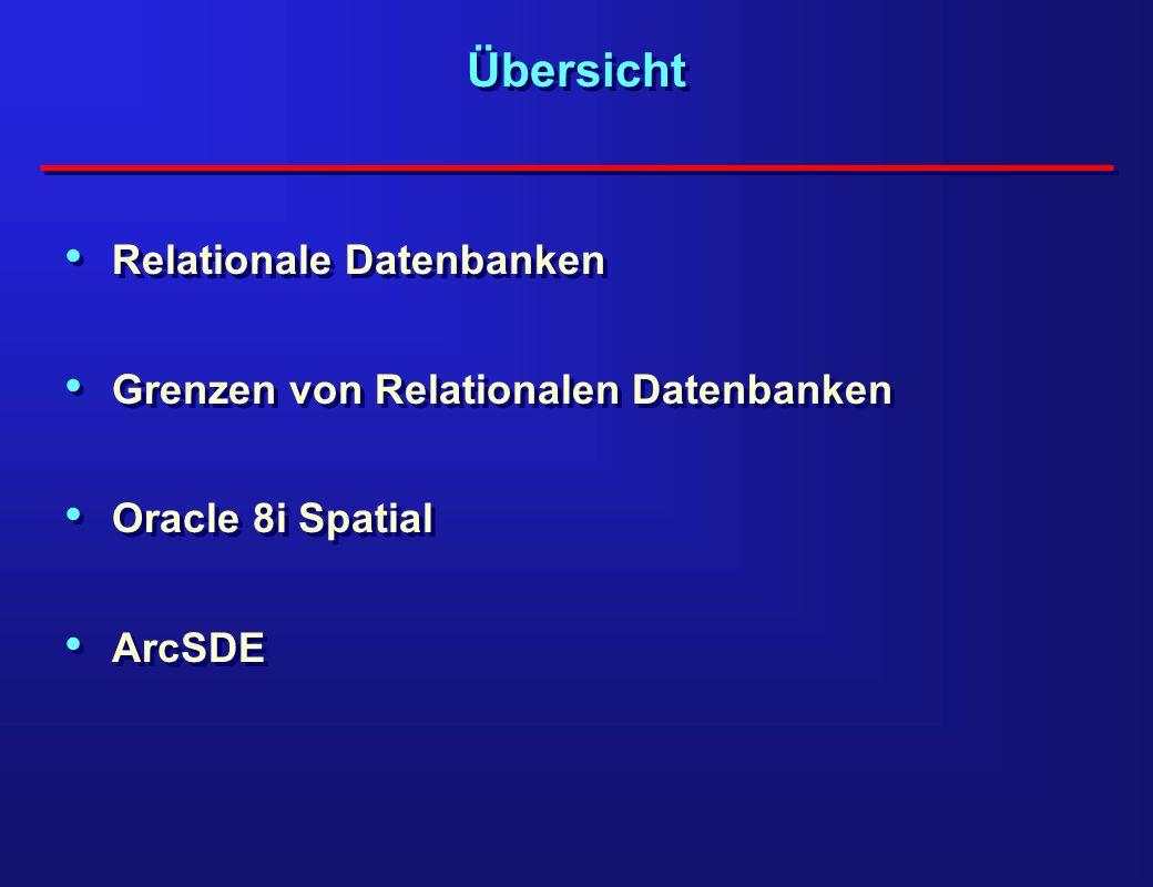 Übersicht Relationale Datenbanken Grenzen von Relationalen Datenbanken Oracle 8i Spatial ArcSDE Relationale Datenbanken Grenzen von Relationalen Daten