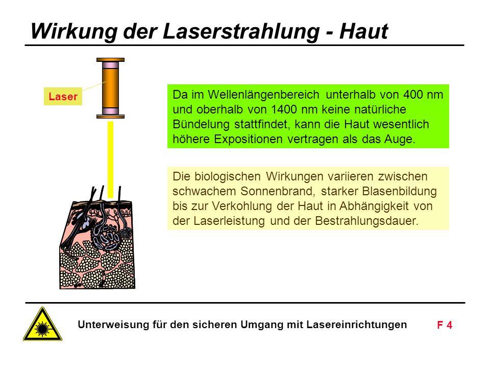Unterweisung für den sicheren Umgang mit Lasereinrichtungen F 4 Siemens AG - Nur zur innerbetrieblichen Verwendung Laser Da im Wellenlängenbereich unterhalb von 400 nm und oberhalb von 1400 nm keine natürliche Bündelung stattfindet, kann die Haut wesentlich höhere Expositionen vertragen als das Auge.