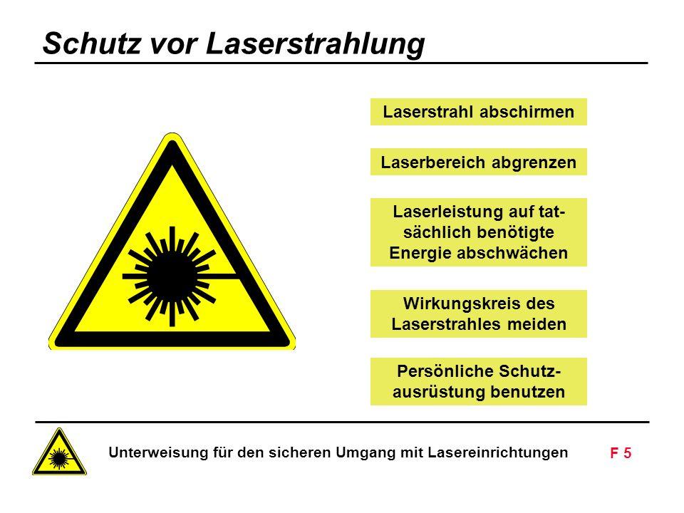 Unterweisung für den sicheren Umgang mit Lasereinrichtungen F 5 Siemens AG - Nur zur innerbetrieblichen Verwendung Laserstrahl abschirmen Laserleistung auf tat- sächlich benötigte Energie abschwächen Laserbereich abgrenzen Wirkungskreis des Laserstrahles meiden Persönliche Schutz- ausrüstung benutzen Schutz vor Laserstrahlung