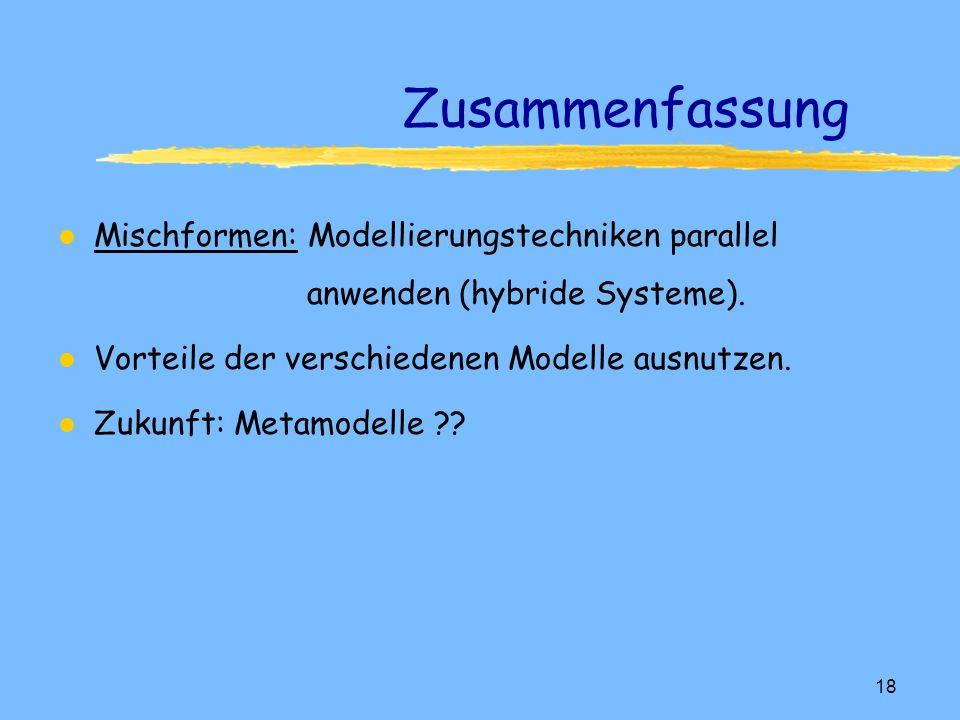 17 Feature Modelle l Zusätzlich zur Geometrie: Angaben über Semantik Produktmodellierung l Aufruf von Objekten aus Feature-Bibliothek: Veränderungen und Manipulationen nach implementierten Regeln möglich.