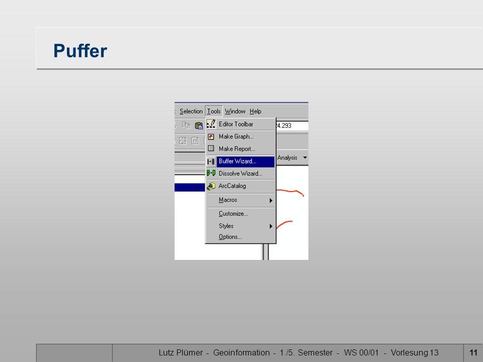 Lutz Plümer - Geoinformation - 1./5. Semester - WS 00/01 - Vorlesung 1311 Puffer