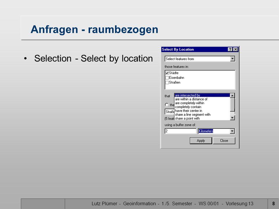 Lutz Plümer - Geoinformation - 1./5. Semester - WS 00/01 - Vorlesung 138 Anfragen - raumbezogen Selection - Select by location