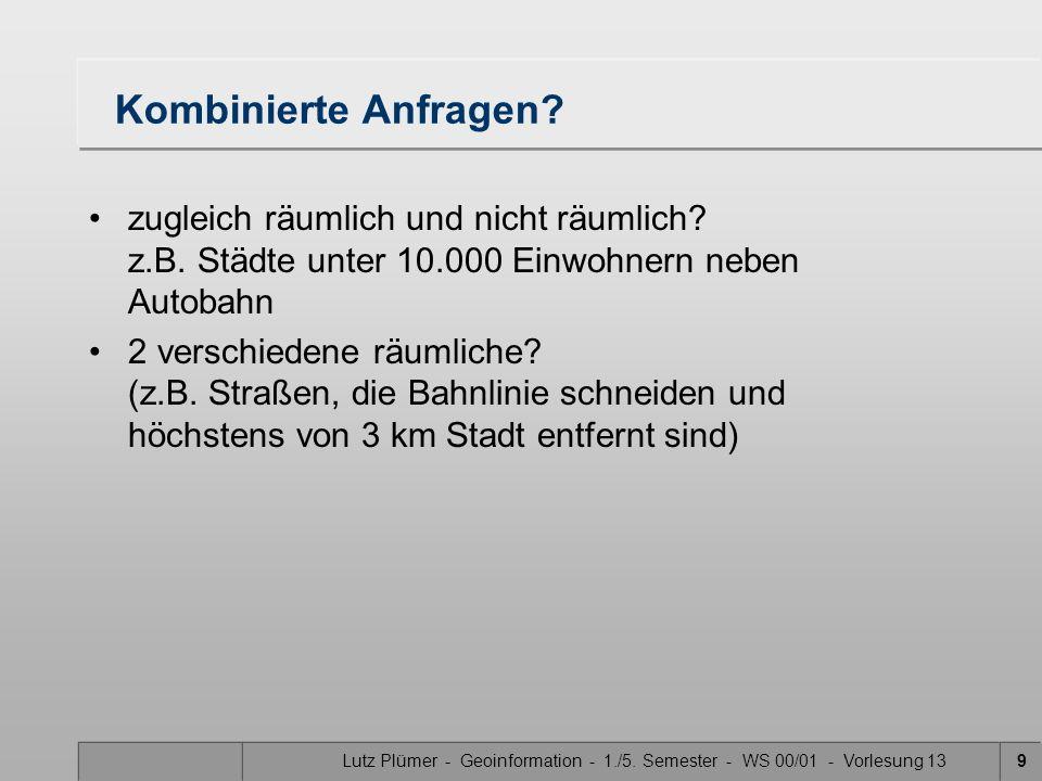 Lutz Plümer - Geoinformation - 1./5. Semester - WS 00/01 - Vorlesung 139 Kombinierte Anfragen.