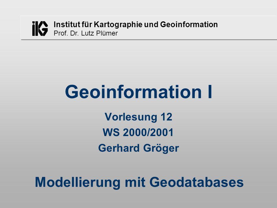 Institut für Kartographie und Geoinformation Prof. Dr. Lutz Plümer Geoinformation I Vorlesung 12 WS 2000/2001 Gerhard Gröger Modellierung mit Geodatab
