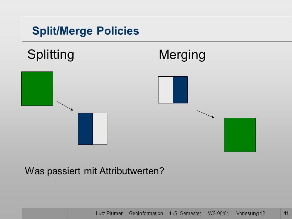 Lutz Plümer - Geoinformation - 1./5. Semester - WS 00/01 - Vorlesung 1211 Split/Merge Policies Was passiert mit Attributwerten? Splitting Merging