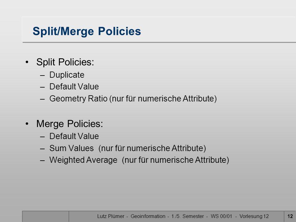 Lutz Plümer - Geoinformation - 1./5. Semester - WS 00/01 - Vorlesung 1212 Split/Merge Policies Split Policies: –Duplicate –Default Value –Geometry Rat