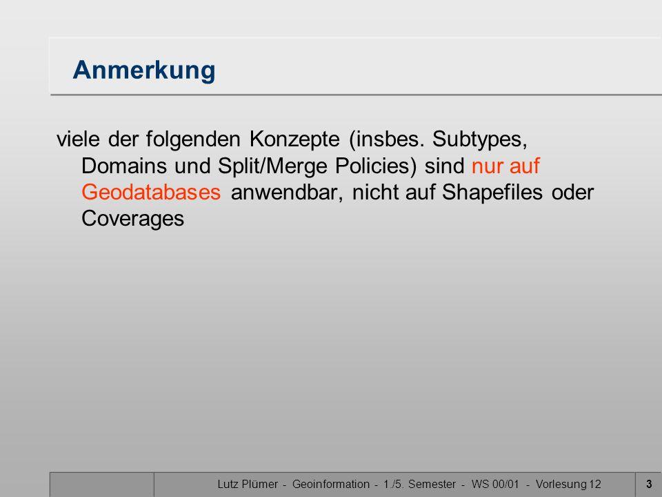 Lutz Plümer - Geoinformation - 1./5. Semester - WS 00/01 - Vorlesung 123 Anmerkung viele der folgenden Konzepte (insbes. Subtypes, Domains und Split/M