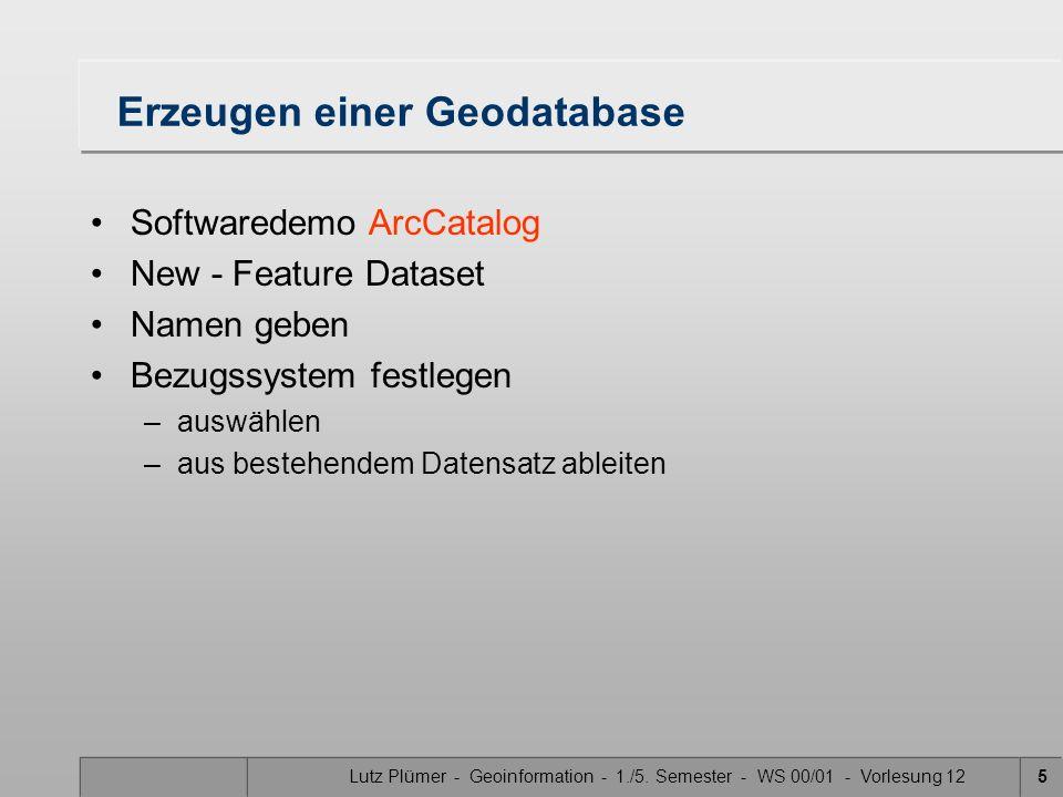 Lutz Plümer - Geoinformation - 1./5. Semester - WS 00/01 - Vorlesung 125 Erzeugen einer Geodatabase Softwaredemo ArcCatalog New - Feature Dataset Name