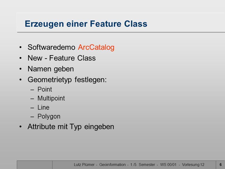 Lutz Plümer - Geoinformation - 1./5. Semester - WS 00/01 - Vorlesung 126 Erzeugen einer Feature Class Softwaredemo ArcCatalog New - Feature Class Name