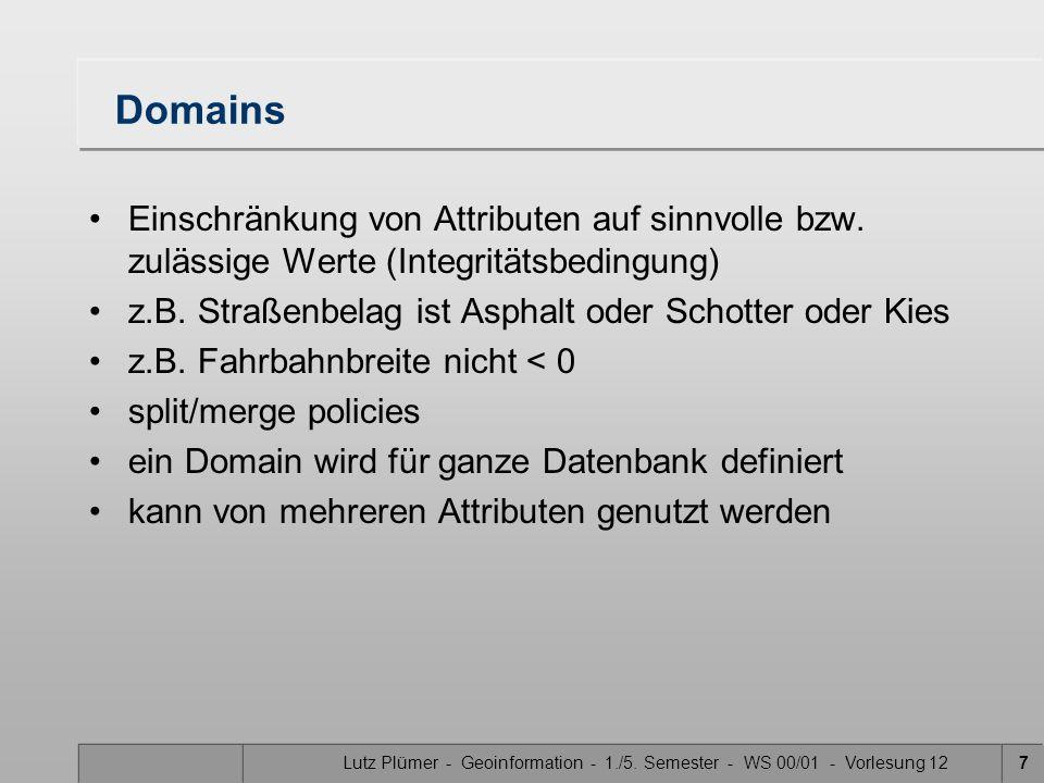 Lutz Plümer - Geoinformation - 1./5. Semester - WS 00/01 - Vorlesung 127 Domains Einschränkung von Attributen auf sinnvolle bzw. zulässige Werte (Inte