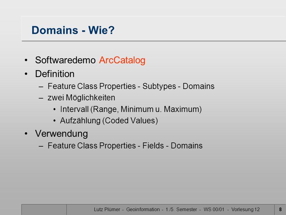 Lutz Plümer - Geoinformation - 1./5. Semester - WS 00/01 - Vorlesung 128 Domains - Wie? Softwaredemo ArcCatalog Definition –Feature Class Properties -