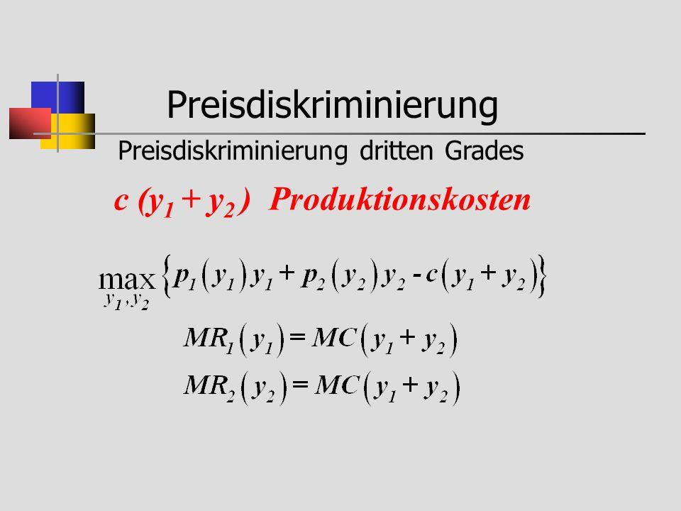 Preisdiskriminierung Preisdiskriminierung dritten Grades c (y 1 + y 2 ) Produktionskosten