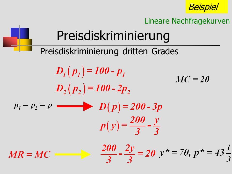 Preisdiskriminierung Preisdiskriminierung dritten Grades Beispiel Lineare Nachfragekurven