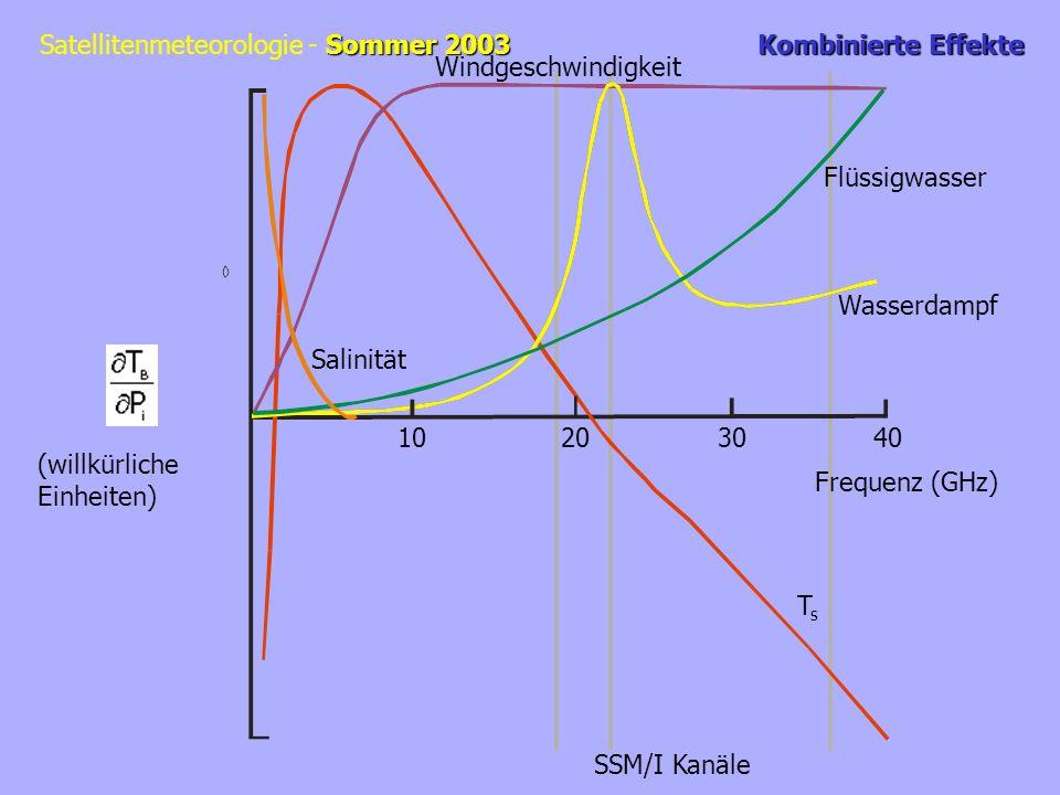 Sommer 2003 Satellitenmeteorologie - Sommer 2003 Kombinierte Effekte TsTs Wasserdampf Flüssigwasser Windgeschwindigkeit Salinität 10203040 Frequenz (GHz) (willkürliche Einheiten) SSM/I Kanäle