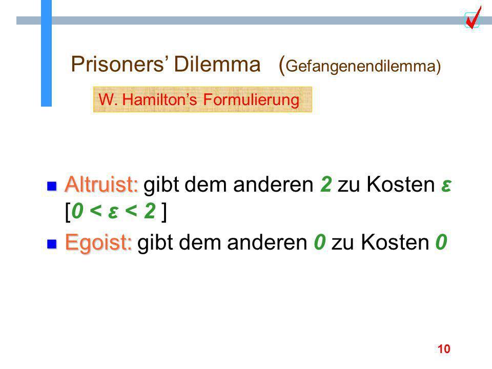 10 Prisoners Dilemma ( Gefangenendilemma) n Altruist: n Altruist: gibt dem anderen 2 zu Kosten ε [0 < ε < 2 ] n Egoist: n Egoist: gibt dem anderen 0 z
