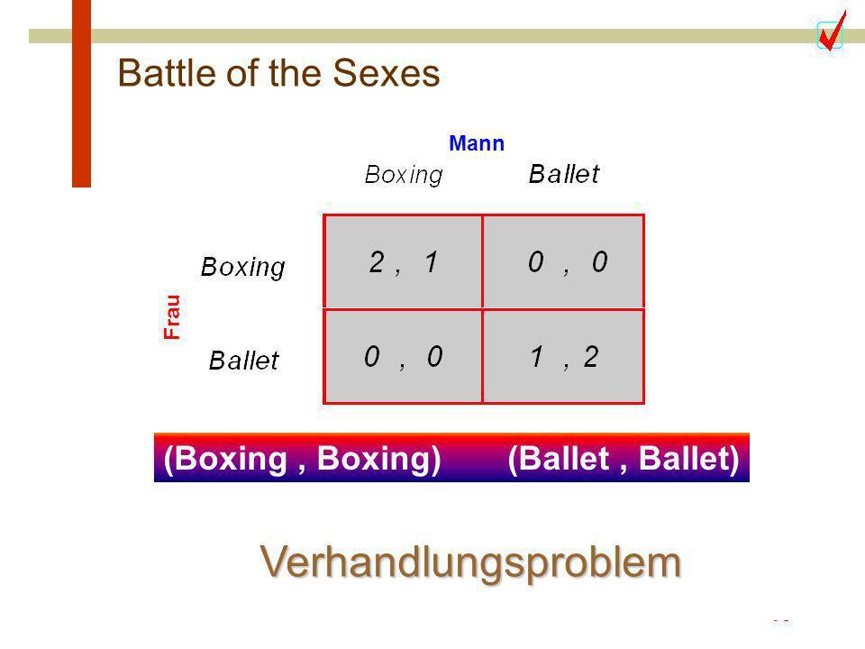 15 Kann Komunikation helfen ??? Battle of the Sexes Frau Mann (Boxing, Boxing) (Ballet, Ballet) Verhandlungsproblem