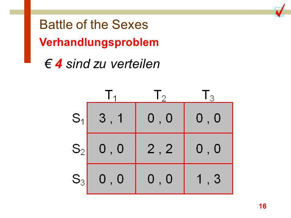 16 Battle of the Sexes Verhandlungsproblem 4 sind zu verteilen